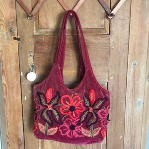 Rising Tide Maroon velour/wool shoulder tote bag